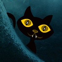 Free online flash games - Scary Black Cat Forest Escape game - WowEscape