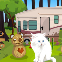 Free online flash games - Games4King Cute White Cat Rescue game - WowEscape